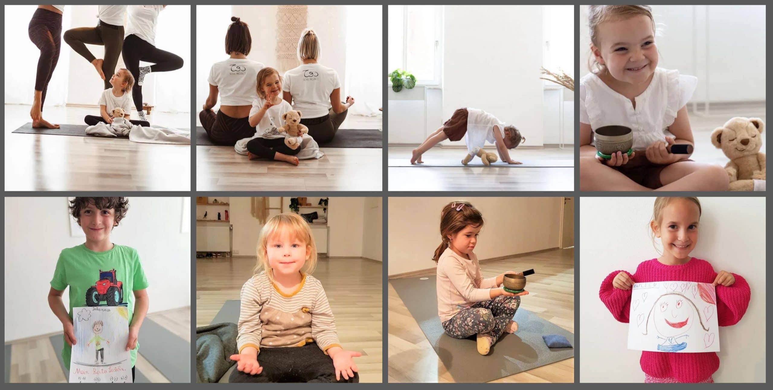 verschiedene Kinder bei Yogaübungen mit Sina Hagedorn